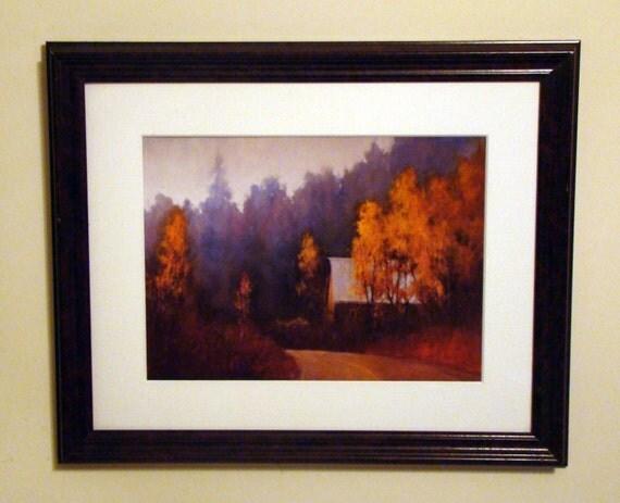 Art / Fall Scene / Vintage / Wall Hanging / Print / Landscape / Framed