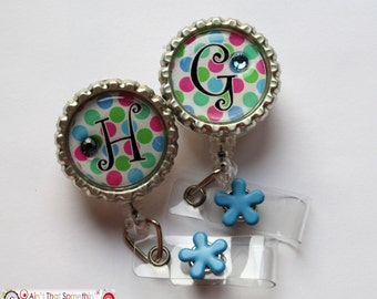 Monogram Polka Dot Pop Retractable Badge Reel - Personalized Badge Clips - Fun ID Holders - Cute Badge Pulls - Badge Reel Gifts - Fun IDs