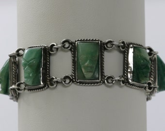 Vintage Carved Face Sterling Silver Bracelet Made in Mexico