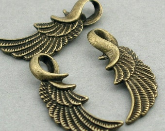 Angel Wing Feather Charms Antique Bronze 6pcs base metal feather 13X31mm CM0250B