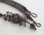 Beaded Viking Knit Y Necklace Copper Jewelry Handmade Wire Wrapped Seed Bead Lampwork Long Pink Brown One Of A Kind Retro