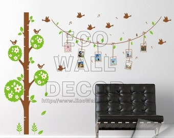 PEEL and STICK Removable Vinyl Wall Sticker Mural Decal Art - Green Tree Photo Frames