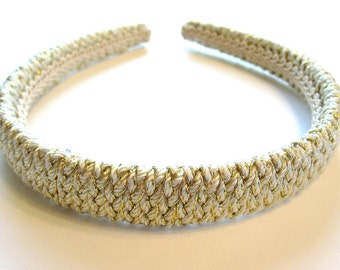 White and Gold Braided Headband / Sparkle Hair Accessory