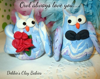 Wedding cake topper, of owls custom made for you,Polymer Clay, Ute cake topper,  2016