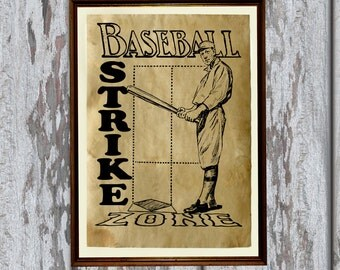 Vintage baseball art print Antique paper Antiqued decor AK331