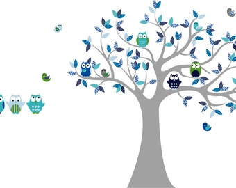 Owl tree decal - children wall decal for nursery - tree wall decal - Owl - Vinyl tree decal - 5 Free owls