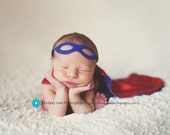 Newborn Superhero CAPE and MASK set - Reversible Personalized Photography Prop for Infant and Baby