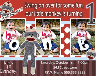 Sock Monkey Invitation Boy - Sock Monkey Invite - 1st Birthday Party Invite - Sock Monkey Birthday  - Sock Monkey Party