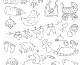 Set of Baby Illustrations - Art Outlines Full Page 32 Original Hand Drawn Outline Illustrations