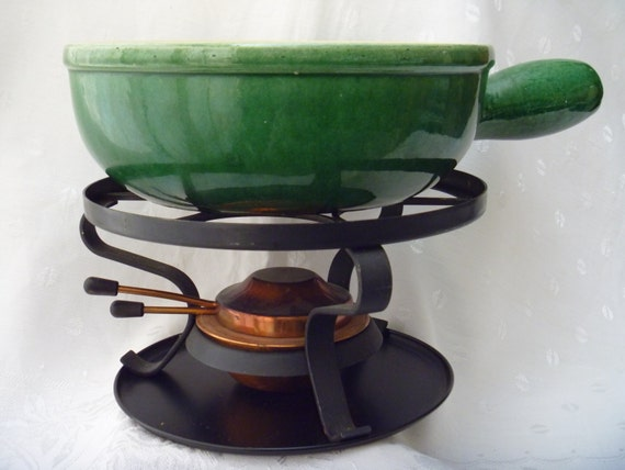 Swiss Landert 22 Fondue Pot Pottery Stoneware With Metal Stand