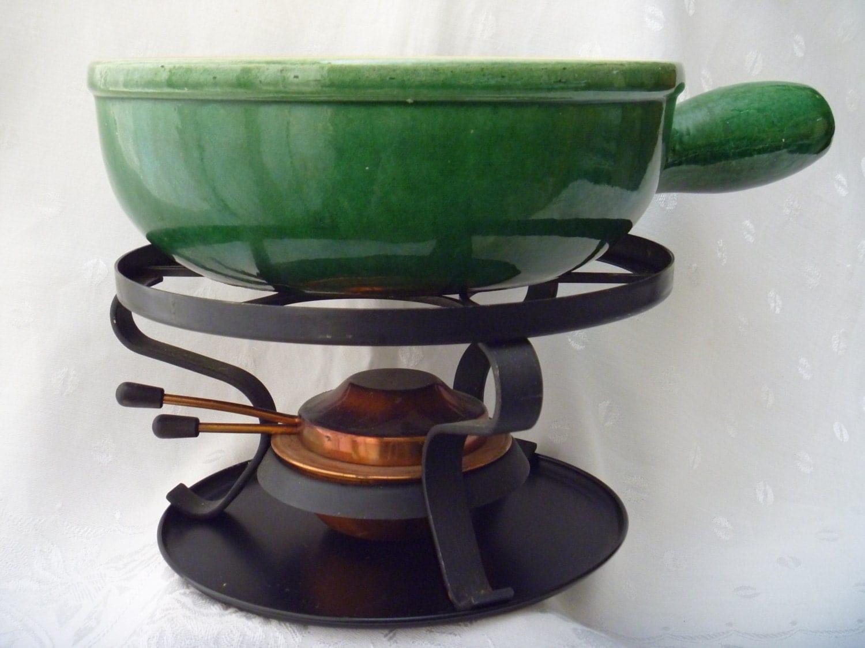 Swiss Landert 22 Fondue Pot Pottery Stoneware With Metal Stand