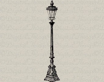 Vintage Lamp Post Outdoor Light Wall Decor Art Printable Digital Download for Iron on Transfer Fabric Pillows Tea Towels DT393