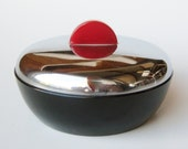 Vintage Art Deco DeVilbiss Black Glass Chrome Red Bakelite Handle Vanity Table Powder Jar Box