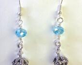 Crystal Cross Crowned Earrings, silver
