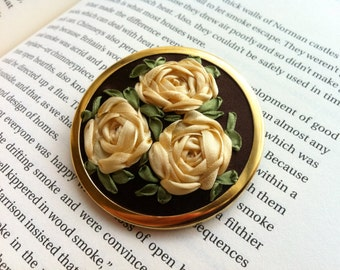 SALE Hand Embroidered Rose Brooch - Silk Ribbon Embroidery by BeanTown Embroidery