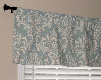 "Premier Prints Village Blue and Natural Damask Valance 50"" wide x 16"" long Lined or Unlined"