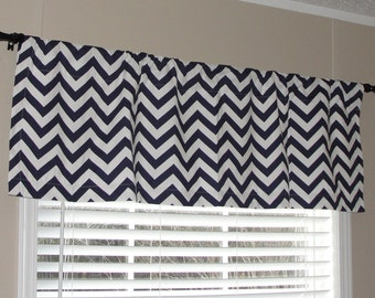 "Premier Prints Navy Blue and White Chevron Valance 50"" wide x 16"" long Zig Zags Lined or Unlined"