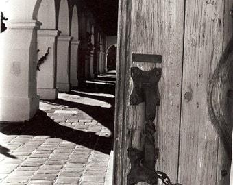 Mission Hallway depth door 11x14 Black & white rustic moody travel spanish california