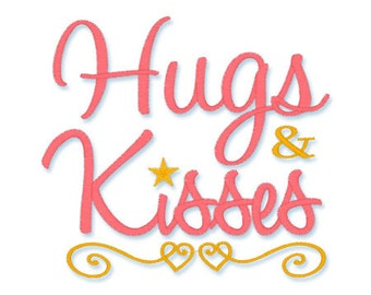 Instant Download- HUGS and KISSES - Machine Embroidery Design -  3 sizes available