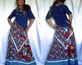 Amazing Linen Boho Bohemian Colorful Long Maxi Skirt with lace