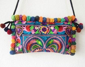 Colorful With Multi Pom Pom around Purse Cross-Over Bag Fashionable Hill Tribe Fair Trade (BG811P-MUB2)