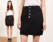 black denim skirt // vintage 90s Guess // mini // button fly jean // grunge era // cotton // medium