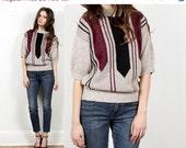 geometric knit sweater // vintage 80s // striped arrow lines // tan black wine // small medium