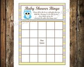 INSTANT DOWNLOAD- Blue Owl Printable Baby Shower Bingo Card