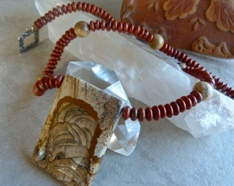 Large Earthy Picture Jasper Pendant with Red Jasper and Picture Jasper Beads Southwestern Necklace