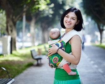 Mei Tai for newborn/toddler for Front/Back/Hip carry. Asian style Baby Carrier.