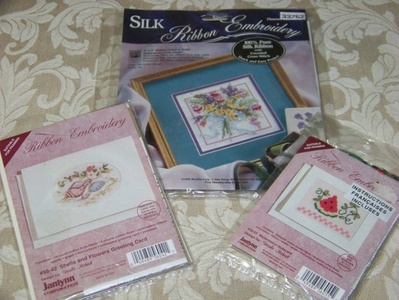 Set of silk ribbon embroidery kits with cross stitch by