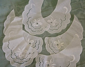 White Cotton Collars Set of 6 Supplies for Sewing Project Necklaces Openwork Floral Embroidery Scallops