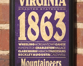West Virginia WV Customizable Wall Art Sign Plaque Gift Present Personalized Color, Home Decor, Vintage Style, Morgantown Charleston Classic