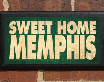 Memphis Tn Sweet Home Wall Art Sign Gift Present Personalized Color Custom Home Decor Graceland Beale