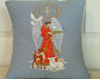 """Angel & Animals Embroidered Pillow - 12"""" x 12"""""""
