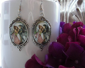 The Wedding Day of Two Fairies in Love, Ornate Fantasy Art Earrings of ROMANTIC MOMENT.
