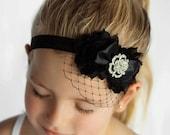 Bree Baby Veil Headband Black Baby Headband Baby Photo Prop Headband Flower Headband Shabby Chic Headband Funeral Veil Rhinestone Headband
