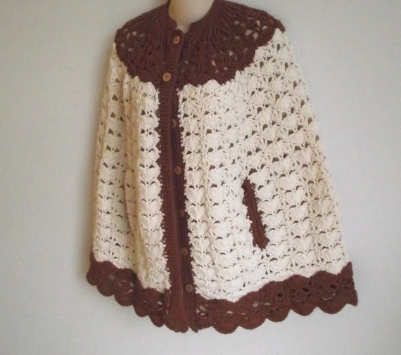 Crochet Patterns Capes : Vintage crochet cape poncho shawl beige brown boho design handmade