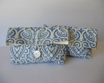 Cream and blue envelope clutch. Wedding, Prom, Quinceanera.