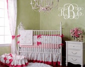Personalized Initial Monogram Vinyl Wall Decal for Master Bedroom Wedding Decor Girl Baby Nursery Girls Room Small to Extra Large WA199