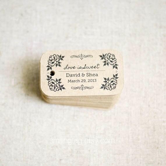 Love is Sweet Rustic Wedding Favor Tags - Vintage Inspired Kraft Gift ...