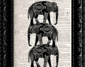 Tower of Art Deco Elephants - Vintage Dictionary Print Vintage Book Print Page Art  Book Art
