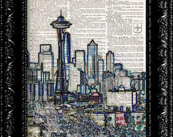 Seattle Skyline Color -  Vintage Dictionary Print Vintage Book Print Page Art  Vintage Book Art