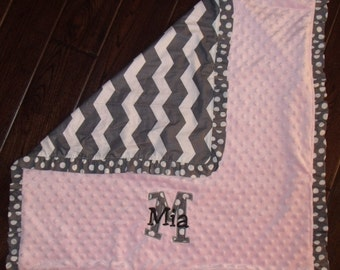 Boutique Girl's Chevron Themed Carseat, Stroller or Lovey Blanket