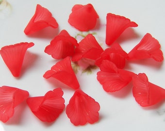 20mm Frosted Red Ruffled Calla Lily Acrylic Flower Beads, 10 PC (INDOC13)