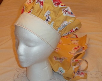 Reversible Chef Hat in Michael Miller Retro Kid Chef, Reverses to Off White For Kids, Teens  or Adults
