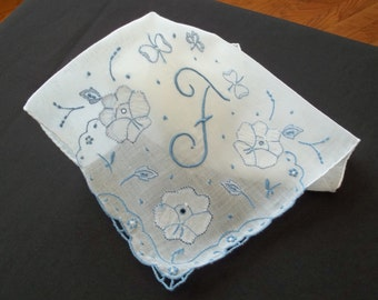 Large White Madeira Handkerchief  Monogrammed with Letter F in Light Blue and Excellent Condition