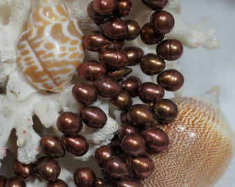 Brown Pearl Drop 6 to 8 mm Half Strand 8 inch Jewelry making Supplies Craft Supplies