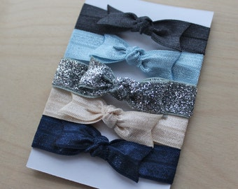 Set of 5 Bow Elastic Hair Ties in Charcoal, Light Blue, Silver Glitter, Ivory, and Navy - by Couture Flower