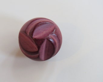 Large Vintage Dark Rose Red Carved Wooden Button, Unique Carved Button